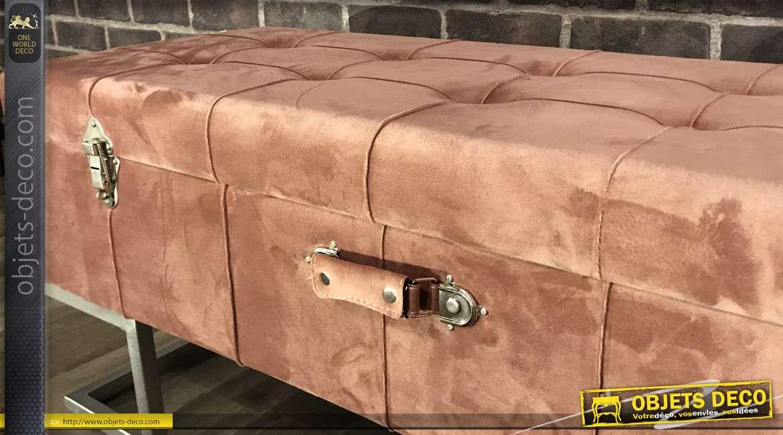 Banquette-coffre vieux rose en tissu et métal argenté 105 cm