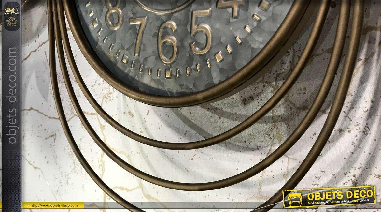 Horloge murale design vintage Art Déco dorée 46,5 cm