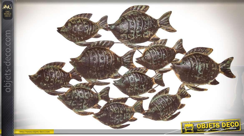Décoration murale en relief : banc de poissons exotiques 100 x 55 cm