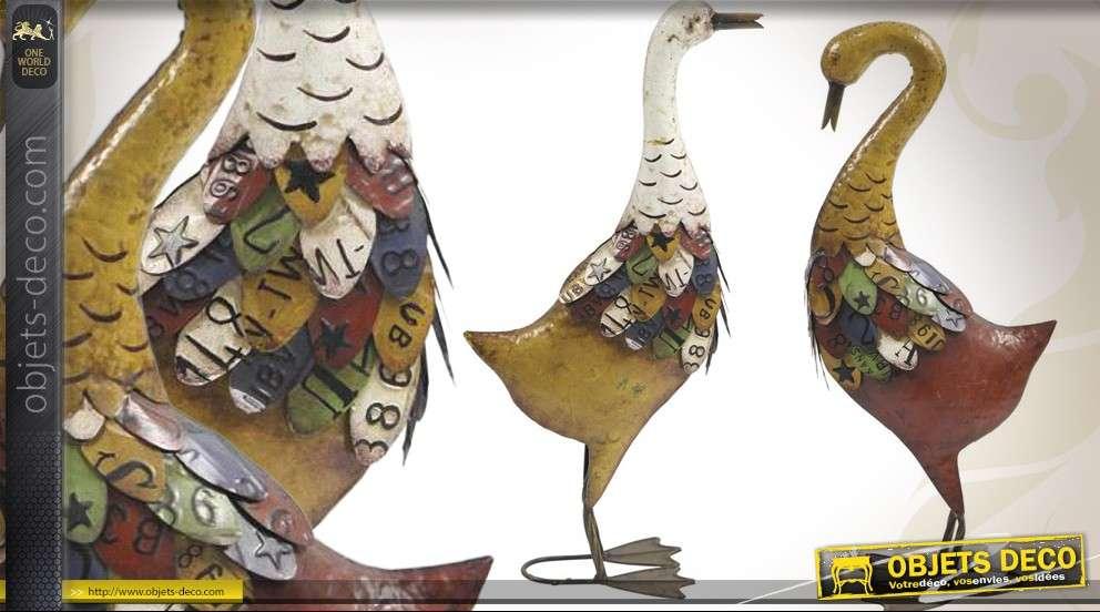 Couple d'oies en métal laqué style récup