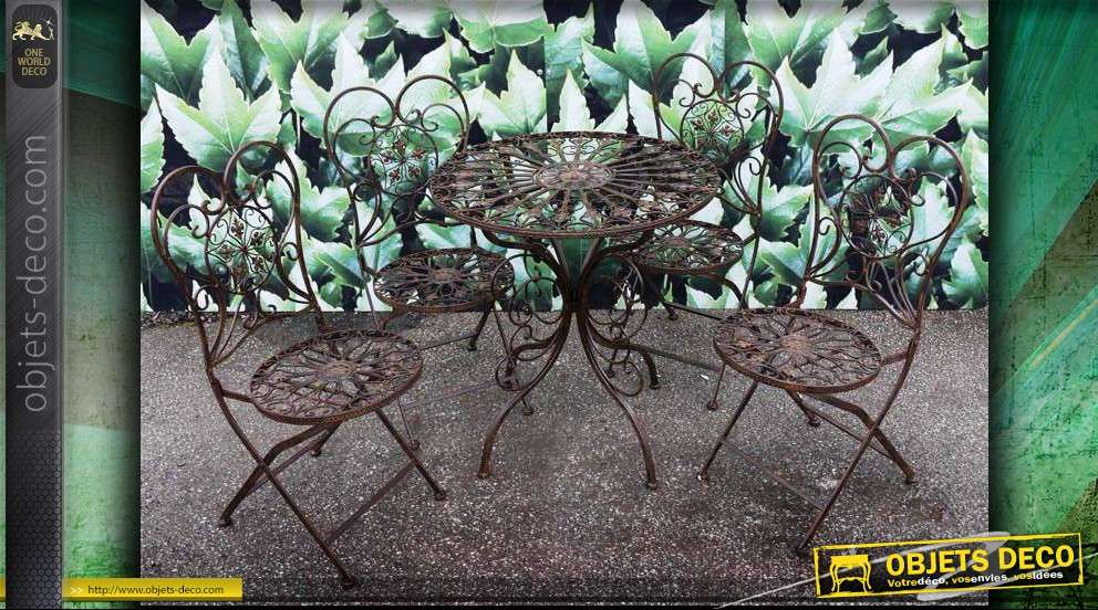 Salon de jardin en fer forg coloris antique for Deco jardin en fer
