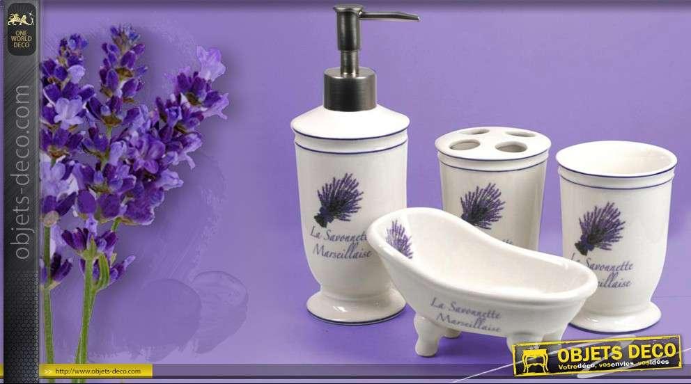 4 accessoires pour salle de bain en c ramique motif lavande for Deco salle de bain accessoires