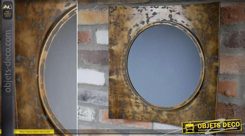 Miroir rond à encadrement concave industriel et rétro finition cuivrée 40 x 40 cm