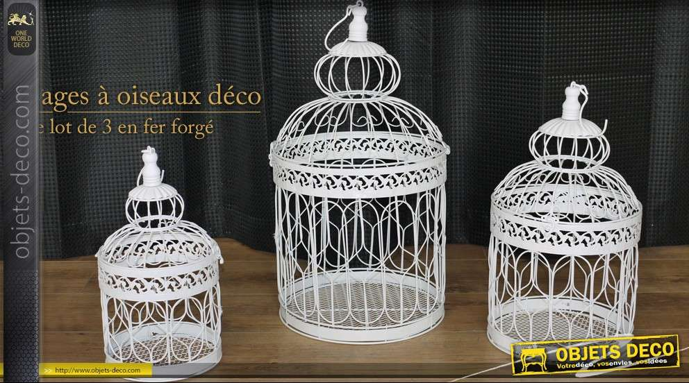 lot de 3 cages oiseaux d coratives. Black Bedroom Furniture Sets. Home Design Ideas