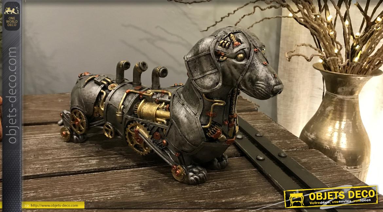 Chien teckel Steampunk argenté et doré 31 cm