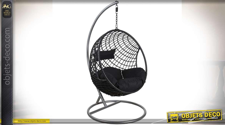 Balancelle suspendue ronde réglable  noir et argent en polyrésine et acier 186 cm