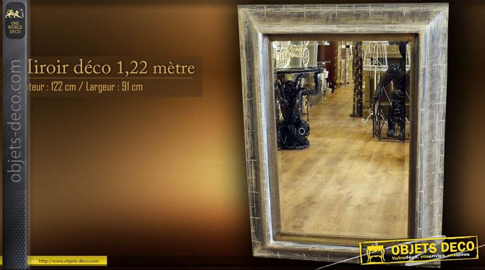 Grand miroir exotique d coratif 1 22 m tre for Grand miroir decoratif
