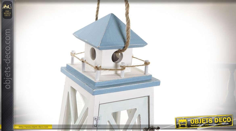 Lanterne style bord de mer en bois blanche et bleue 32 cm