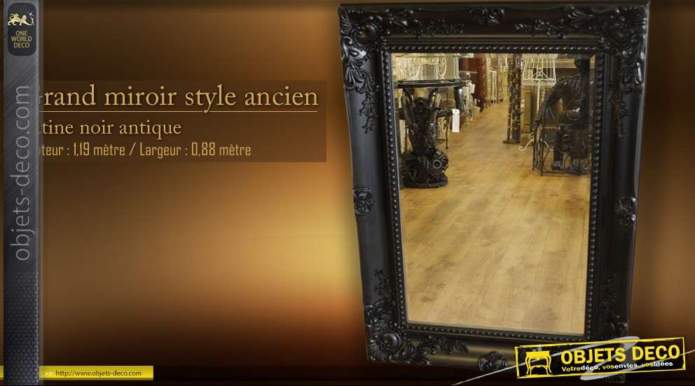 Grand miroir de style ancien noir antique for Grand miroir noir