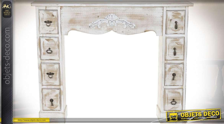 Manteau de cheminée en bois et métal avec tiroirs de rangements en colonne, finition bois naturel blanchi, style campagne montagne, 121cm
