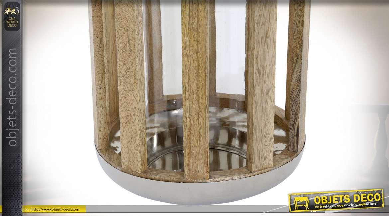 Lanterne cylindrique bois naturel et métal argenté poli 32 cm