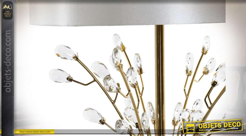 Lampe de table en métal, style élégant chic finition doré et transparent esprit branche d'arbre