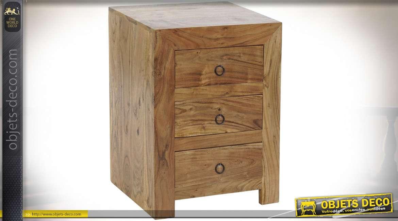 TABLE DE CHEVET BOIS MASSIF ACACIA 45X35X60 20