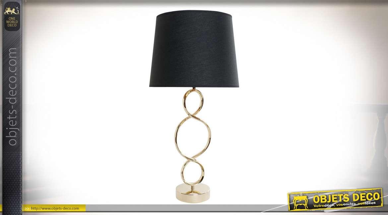 LAMPE DE TABLE MÉTAL COTON 30X30X61 SPIRALE NOIR