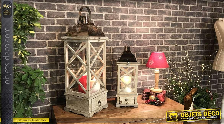 Set de 2 grandes lanternes rustiques en bois et métal 75 cm