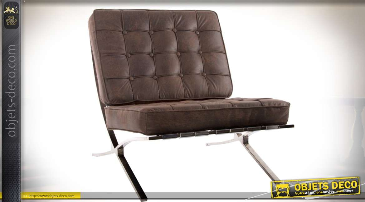 fauteuil design en m tal chrom et assise capitonn e simili cuir marron. Black Bedroom Furniture Sets. Home Design Ideas