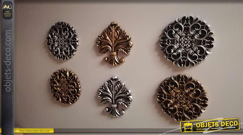 Série de 6 décorations murales en formes de rosaces et volutes arabesques, finitions brillantes, de style baroque élégant, Ø25cm