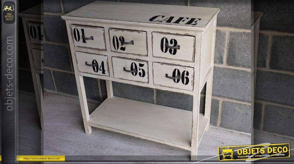 meuble de rangement six tiroirs de style industriel. Black Bedroom Furniture Sets. Home Design Ideas