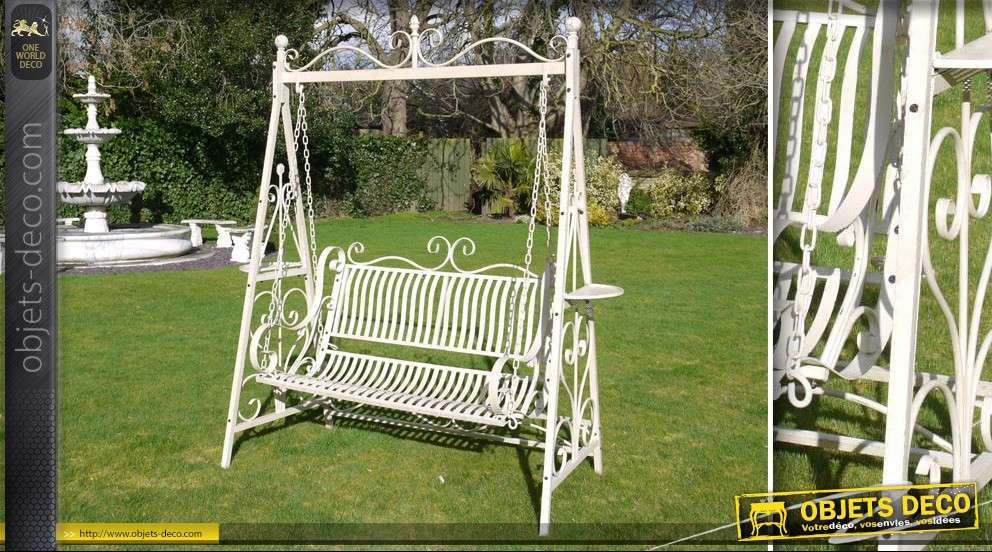Balancelle de jardin en fer forg patine cr me antique for Deco fer forge jardin exterieur