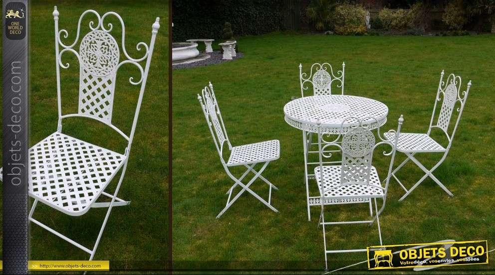 Salon de jardin luxe en fer forgé table ronde et 4 chaises
