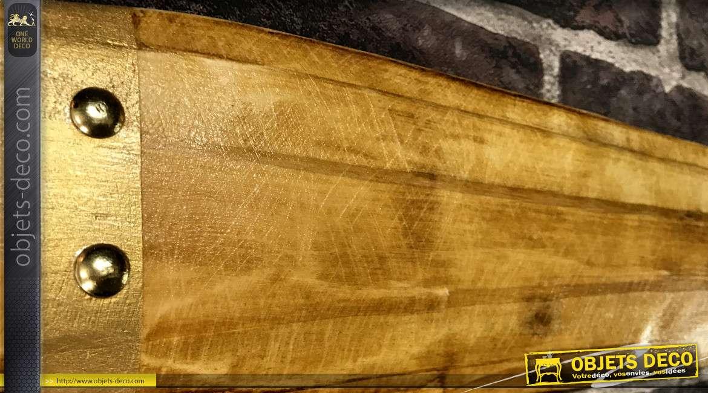 Hélice d'avion biplan en bois, finition naturel et effet métal doré en bout de pale, modèle Breguet 14