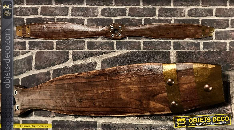 Hélice d'avion biplan en bois, finition bois usé bruni, richement texturée et pointes cuivrées, 120cm