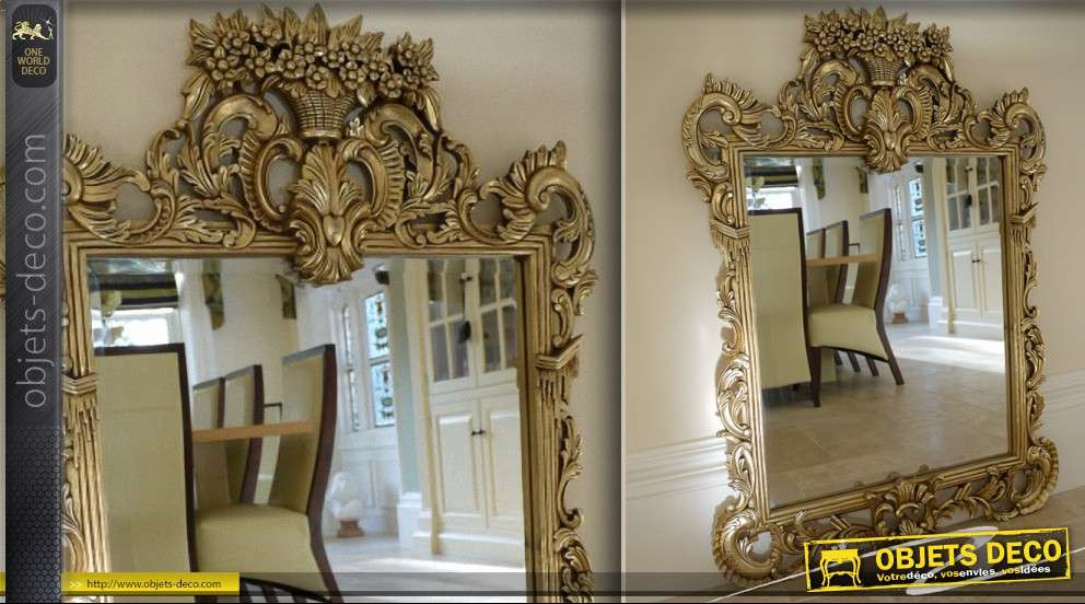 miroir de style baroque dor sculpt main 130 cm. Black Bedroom Furniture Sets. Home Design Ideas