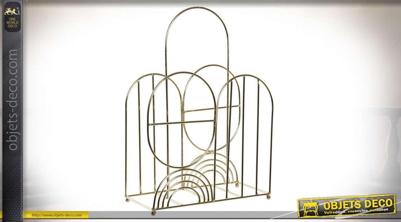 Porte-revues en métal finition dorée effet ancien, ambiance arrondie Art Déco, 47cm