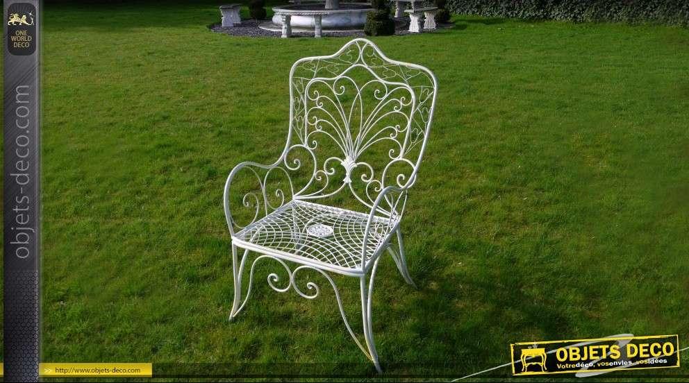 Fauteuil de jardin en fer forg blanc antique - Chaise en fer forge pour jardin ...