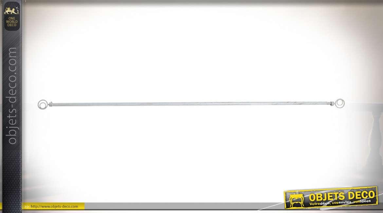 Tringle à rideaux en métal patiné blanc ancien, 160cm