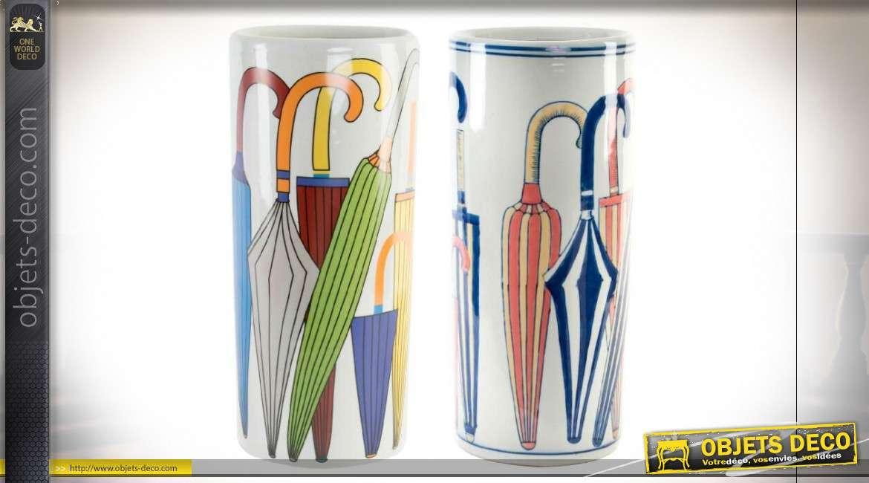 Série de portes parapluie en porcelaine avec motifs colorés, 19cm de diamètre
