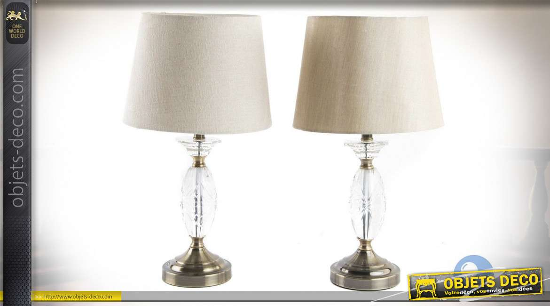 LAMPE DE TABLE MÉTAL VERRE 25X25X45 2 MOD.