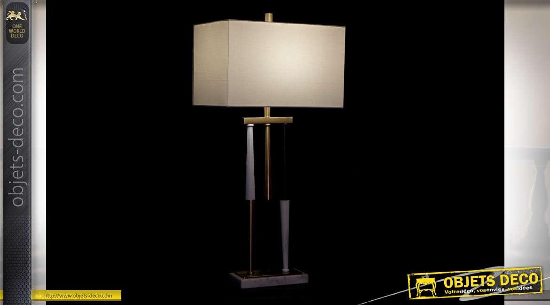 LAMPE DE TABLE MÉTAL MARBRE 41X25X86 DORÉ