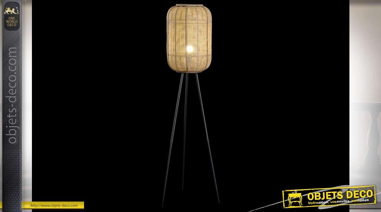 LAMPADAIRE TOILE BAMBOU 30X30X136 NATUREL MARRON