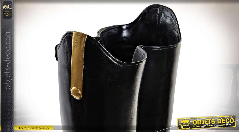 Porte parapluie décoratif en résine, forme de bottes de pluie effet cuir noir, décoration d'entrée originale, 47cm
