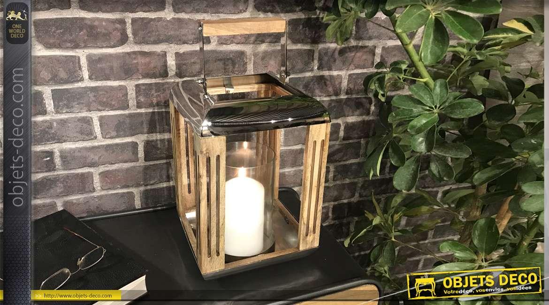 Lanterne moderne bois naturel et métal argenté poli 45 cm