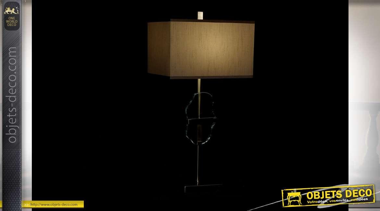 LAMPE DE TABLE MÉTAL VERRE 42X28X86 DORÉ