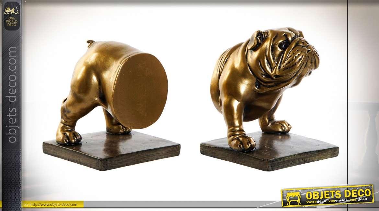 Paire de serre-livres originale en résine en forme de bulldog coupé en deux, esprit tour de magie, finition dorée ancien, 24cm