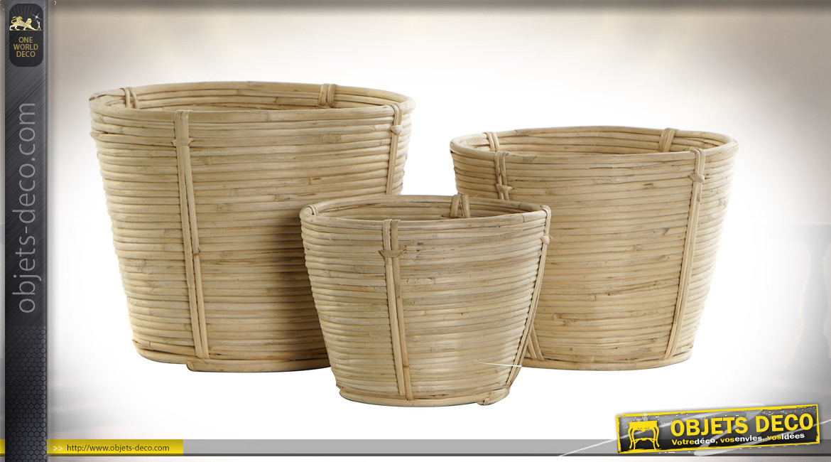 SUPPORT POT FLEURS SET 3 ROTIN 25X25X25 NATUREL