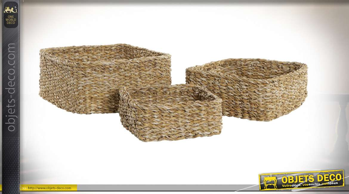 CORBEILLE SET 3 FIBRE 28X24X13 NATUREL