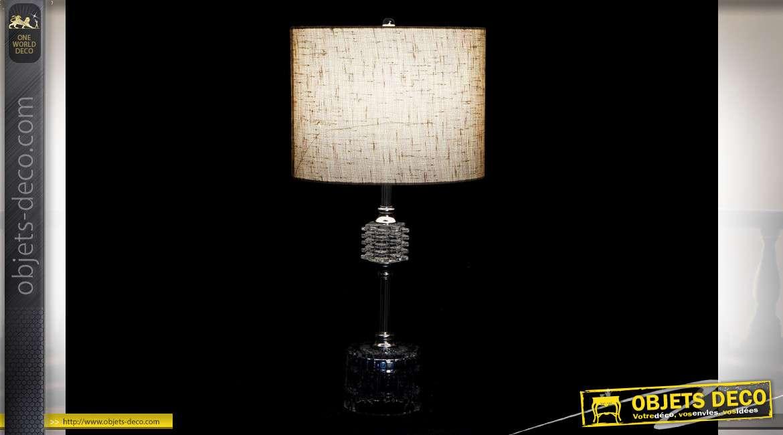 LAMPE DE TABLE MÉTAL VERRE 28X28X48 TRANSPARENT