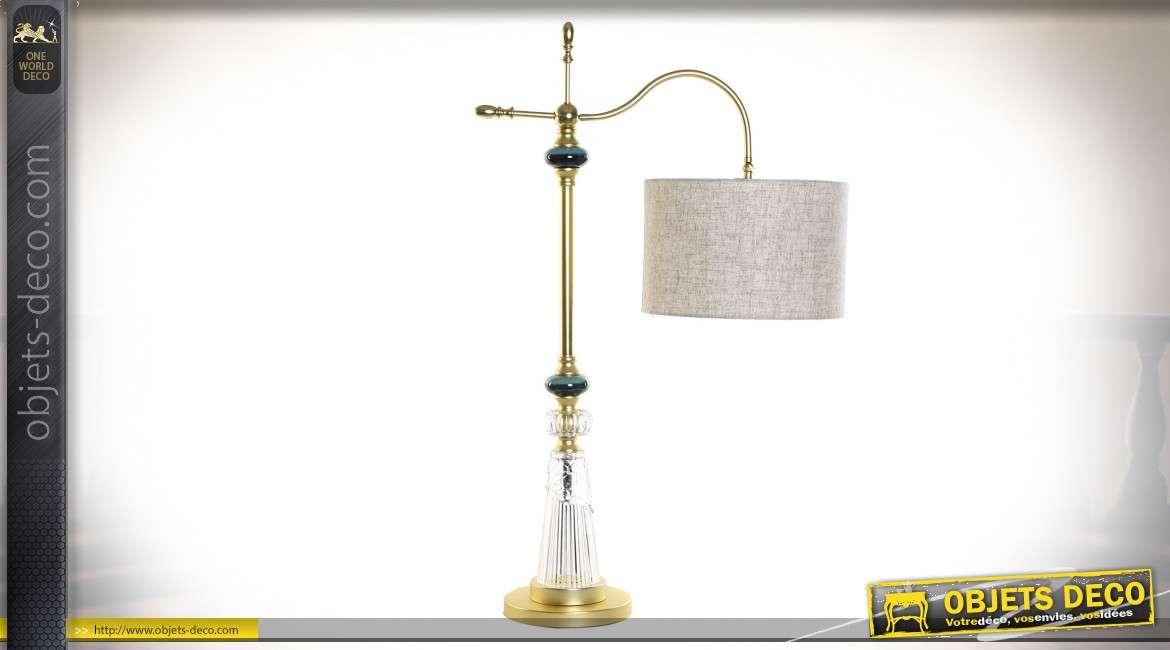 LAMPE DE TABLE MÉTAL PORCELAINE 42X60X45 BRAS DORÉ