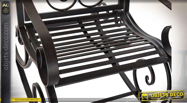 Rocking chair de jardin en métal patiné noir
