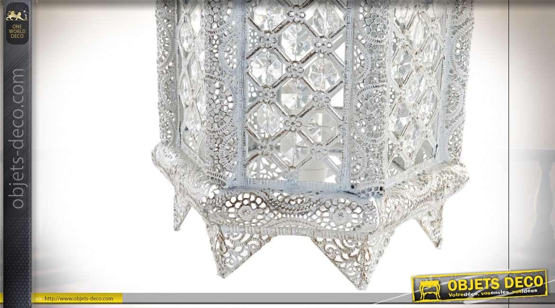 LAMPE DE TABLE MÉTAL ACRYLIQUE 22X19X50 ETHNIQUE