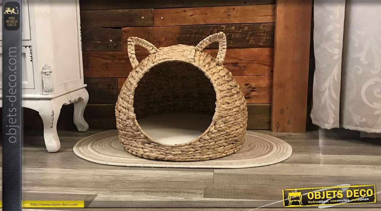Maison à chat en roseau tressé, grosses mailles et oreilles, coussin moelleux en polyester