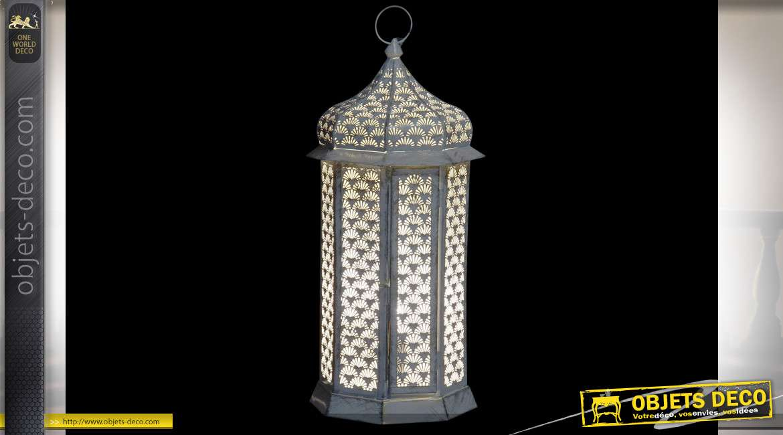 Lanterne en métal de style orientale, finition dorée blanchie, esprit moucharabieh, 54cm