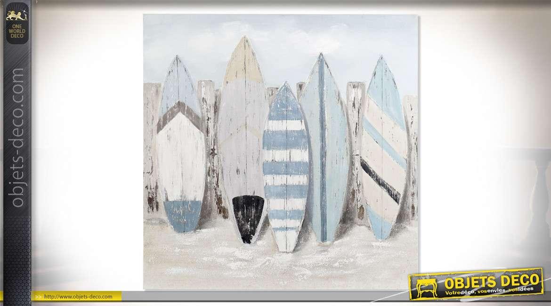 TABLEAU CANEVAS BOIS 120X3,8X120 SURF PEINT À MAIN