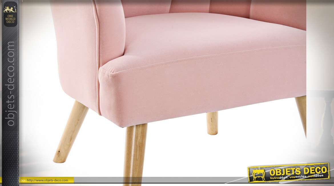 FAUTEUIL POLYESTER BOIS 62X73X83 ROSE