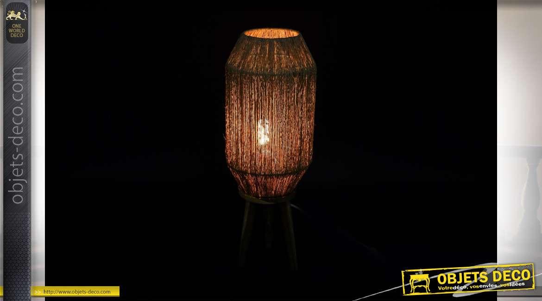LAMPADAIRE JUTE BOIS 21X21X58 NATUREL