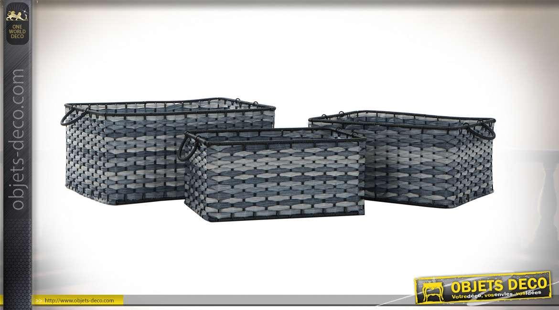 CORBEILLE SET 3 PVC 54X38X25 BLEU